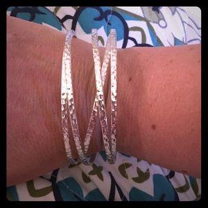 Cross-Cross Hammered Bangle Bracelet Silvertone